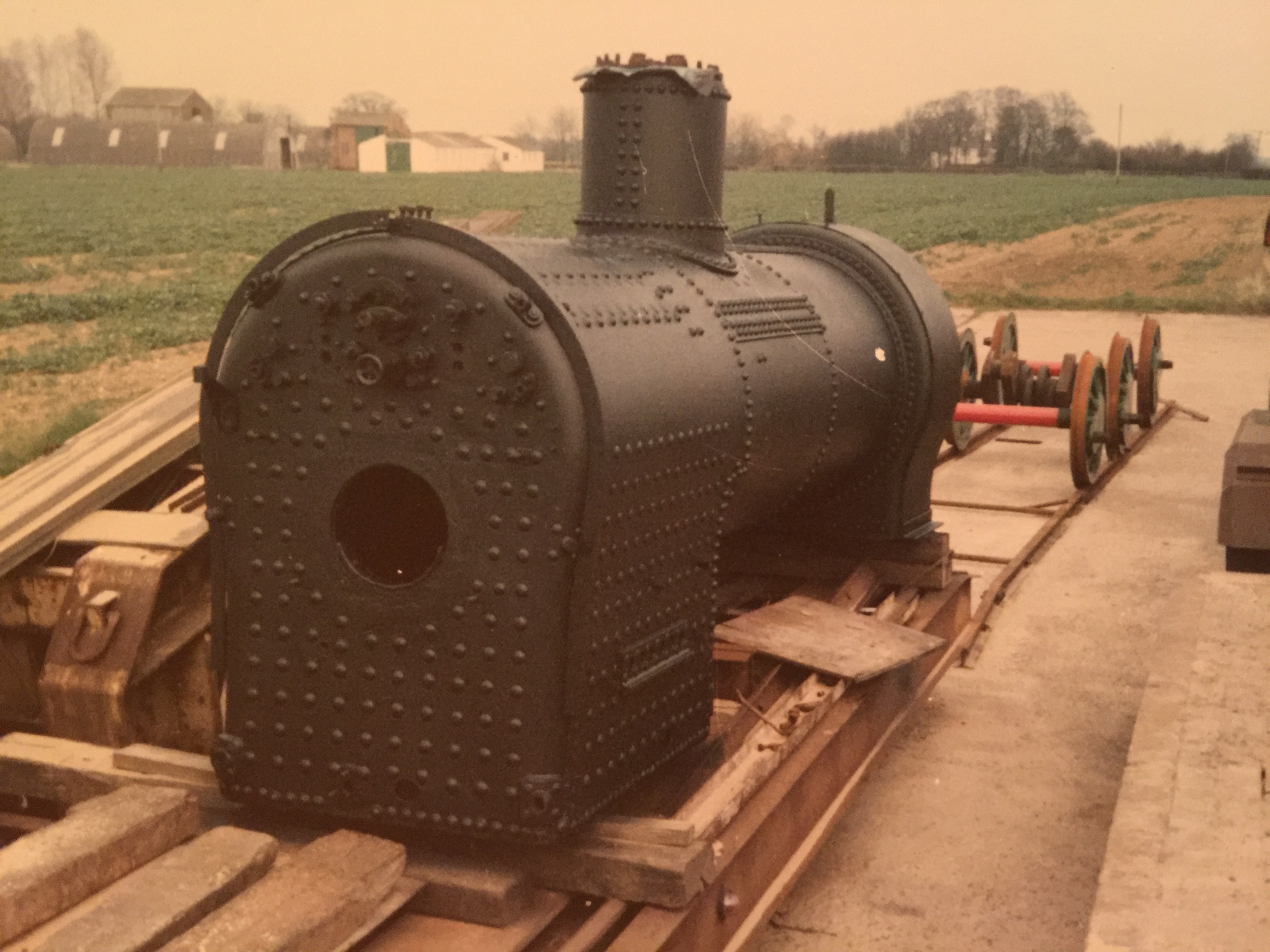 The boiler removed from the frames at Suffolk Steam for attenton