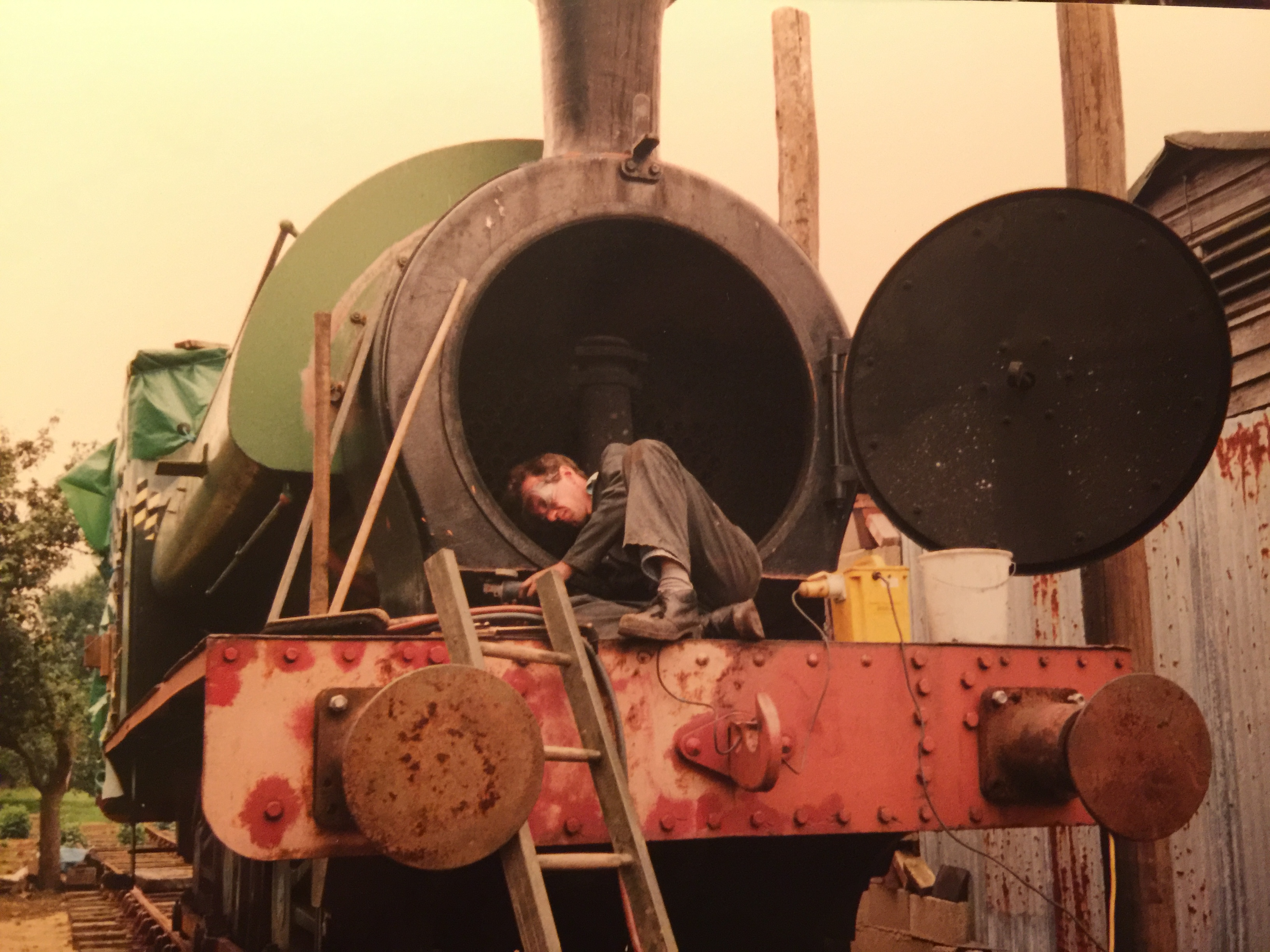 Working in the smokebox at Suffolk Steam as an engineer